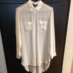 Sheer high-low button down blouse